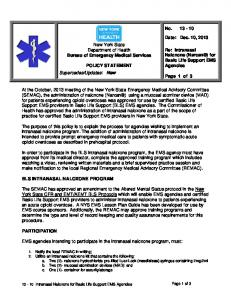 New York State Department of Health Bureau of Emergency Medical Services