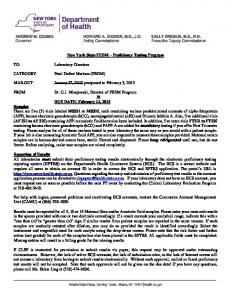 New York State FEDM Proficiency Testing Program