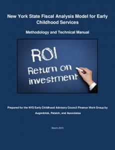 New York State Fiscal Analysis Model for Early Childhood Services