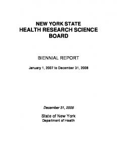 NEW YORK STATE HEALTH RESEARCH SCIENCE BOARD