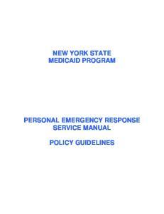 NEW YORK STATE MEDICAID PROGRAM PERSONAL EMERGENCY RESPONSE SERVICE MANUAL