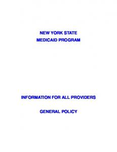 NEW YORK STATE MEDICAID PROGRAM