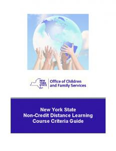 New York State Non-Credit Distance Learning Course Criteria Guide