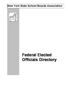 New York State School Boards Association. Federal Elected Officials Directory