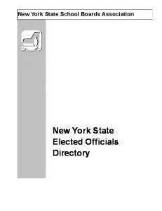 New York State School Boards Association. New York State Elected Officials Directory