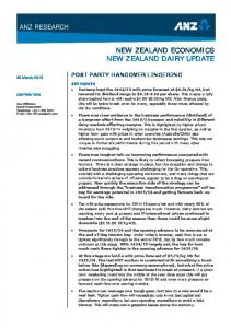 NEW ZEALAND ECONOMICS NEW ZEALAND DAIRY UPDATE
