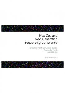 New Zealand Next Generation Sequencing Conference. Palmerston North Convention Centre Palmerston North New Zealand