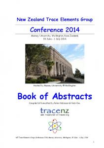 New Zealand Trace Elements Group. Conference Massey University, Wellington, New Zealand; 30 June - 1 July 2014
