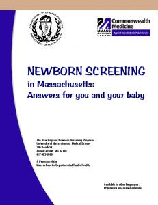 NEWBORN SCREENING in Massachusetts: Answers for you and your baby