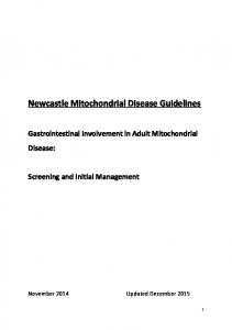 Newcastle Mitochondrial Disease Guidelines