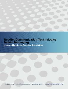 NewNet Communication Technologies Mobile Messaging Krypton High Level Function Description