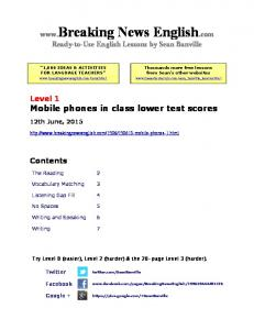 News English.com Ready-to-Use English Lessons by Sean Banville Level 1 Mobile phones in class lower test scores