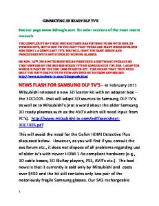 NEWS FLASH FOR SAMSUNG DLP TV S---In February 2011