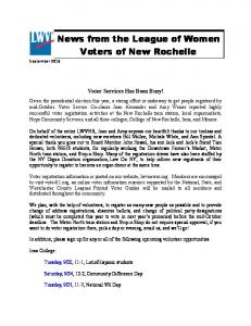 News from the League of Women Voters of New Rochelle