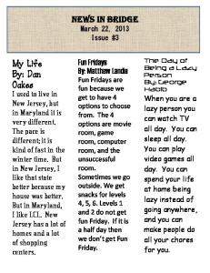 News in Bridge March 22, 2013 Issue #3