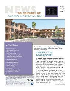 NEWS TO FRIENDS OF. Bonnie Lane Apartments in Las Vegas, Nevada. Accessible Space, Inc. BONNIE LANE APARTMENTS. In This Issue
