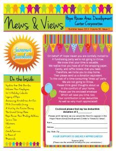 News & Views. On the Inside: Summer. Sunshine