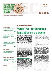 NEWS. Votes Yes for European legislation on bio-waste. No EUROPEAN PARLIAMENT. Organic Resources and Biological Treatment