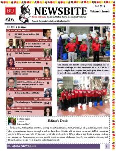 NEWSBITE In this issue: CULTURAL AFFAIRS. Editor s Desk