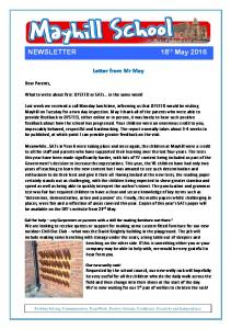 NEWSLETTER 18 th May 2016