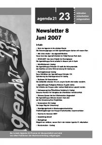 Newsletter 8 Juni 2007