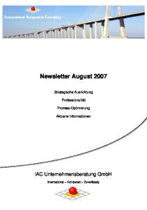 Newsletter August 2007