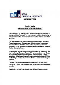 NEWSLETTER. Buying a Car What are your Finance Options?