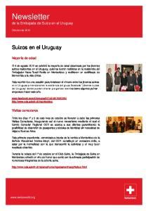 Newsletter de la Embajada de Suiza en el Uruguay