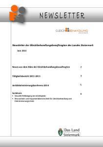 Newsletter der Gleichbehandlungsbeauftragten des Landes Steiermark