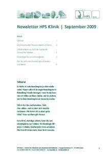 Newsletter HPS Klinik September 2009