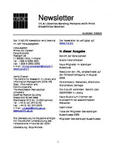 Newsletter IFLA Libraries Serving Persons with Print Disabilities Section