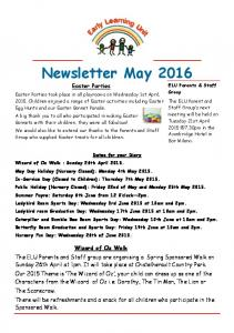 Newsletter May 2016 Easter Parties