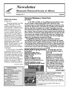 Newsletter Mennonite Historical Society of Alberta
