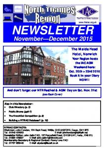 NEWSLETTER. November December NTRIAC CONTACTS: Chairman: John Howden, 12A Back Road, Writtle, CHELMSFORD, Essex, CM1 3PD