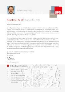 Newsletter Nr. 60 September 2015