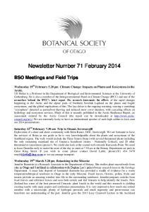 Newsletter Number 71 February 2014