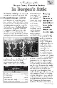 Newsletter of the Bergen County Historical Society