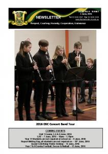 NEWSLETTER. Respect, Courtesy, Honesty, Cooperation, Endeavour DSC Concert Band Tour COMING EVENTS