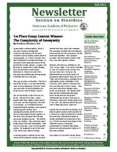 Newsletter. Section on Bioethics
