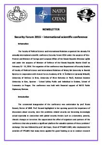 NEWSLETTER. Security Forum 2015 international scientific conference