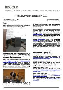NEWSLETTER SUMMER 2013
