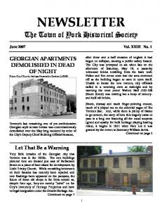 NEWSLETTER. The Town of York Historical Society