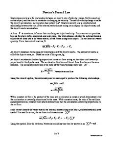 Newton's Second Law. net force= F 1 F 2 F 3... F n