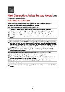 Next Generation Artists Bursary Award 2016