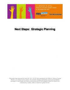 Next Steps: Strategic Planning