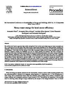 Nexus water energy for hotel sector efficiency