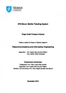 NFC4Sure: Mobile Ticketing System. Telecommunications and Informatics Engineering