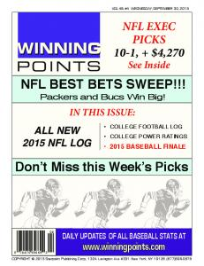 NFL BEST BETS SWEEP!!!
