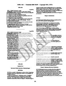 NFPA 1451 November 2001 ROP Copyright 2001, NFPA