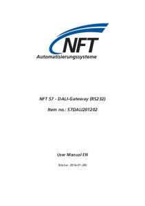 NFT S7 - DALI-Gateway (RS232) Item no.: S7DALI201202